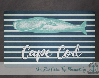 Placemat - Cape Cod Whale | Nautical Stripes Beach House Decor | Anti Skid/Non Slip Fabric Top Rubber Backed Awesomeness