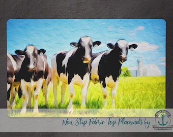 Placemat - Farm Cows | Rustic Barn Farmhouse Chic Decor | Anti Skid/Non Slip Fabric Top Rubber Backed Awesomeness