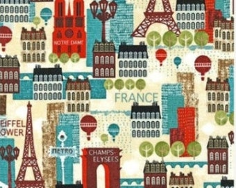 "END OF BOLT - Aqua Hello Paris from Robert Kaufman - 17.5""x44"""