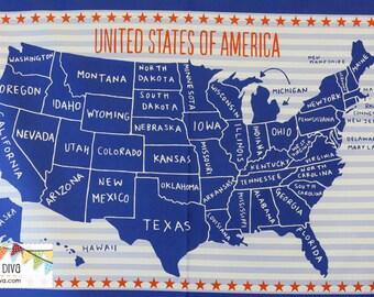 World Map Fabric Windham. USA Panel by Windham Fabrics  24 x44 Usa map fabric Etsy