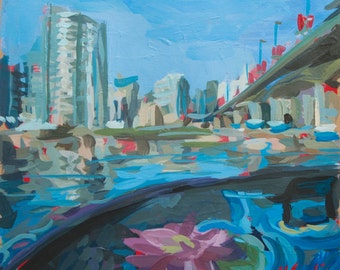 "Original Artwork // Cambie Bridge (Vancouver no. 43) // 7"" x 7"" // Acrylic Painting on Paper"
