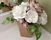 Petite Floral Arrangement - Fabric Flower Arrangement - Handmade Fabric Flowers - Home Decor, Centerpiece, Dainty, Small, Bedroom, Bathroom