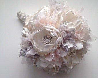 Medium Bouquet - Pale Pink, Silver and Cream - Bridal Bouquet, Fabric Flower Bouquet, Heirloom Bouquet, Fabric Bouquet, Fabric Flowers