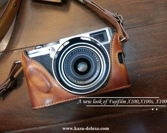 Cow leather case for Fujifilm X100T X100S / Fujifilm X100 include leather full case and leather strap