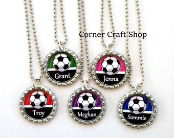 SOCCER BALL Name or Team Personalized  Bottle Cap Necklace Team Favors , Coach, Player Gift  15 colors Red Blue Green Pink Orange Purple