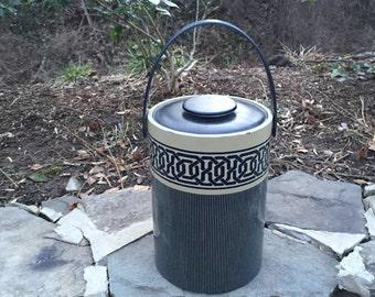 Vintage greek key large navy and tan ice bucket wine cooler
