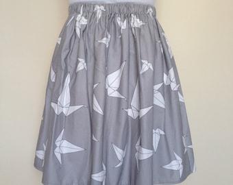 Grey Origami Crane Skirt