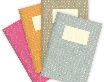 Set of 4 Notebooks Stapled A5 Dots