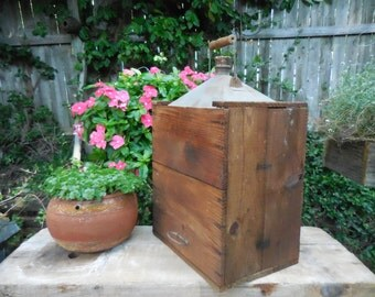 Antique Metal Gas can with wood case
