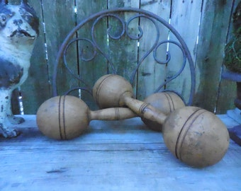 Vintage Wooden Barbells from 20's-30's 1 1/2 lbs.
