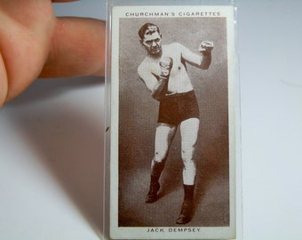 1938 Churchman Boxing Personalities Jack Dempsey #12 Tobacco Card 2.60 x 1.40 inch Collectible Black and White Tobacconists Card