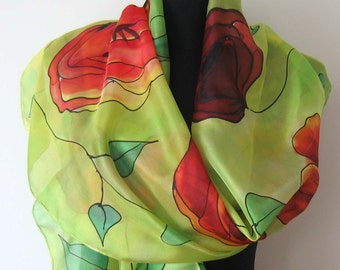 Poppies scarf. Hand painted silk scarf. Red and orange poppies scarf. Moss green background. Art scarf.