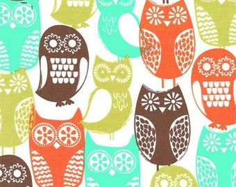 Michael Miller fabric for quilt or craft Swedish Owls in Brown Half Yard