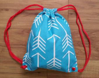 SALE! Teal Arrow Drawstring Backpack - Toddler Backpack - Ready to ship