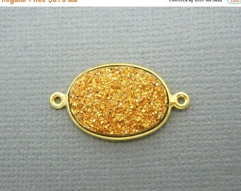 12% off Wholesale Druzy Double Bail Connector Charm Pendant-- 18mm x 13mm Copper Color Druzy Connector in a Gold Plated Oval Bezel (S41B11-0