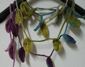 Crochet Leaves Scarf Necklace, Scarf Necklace