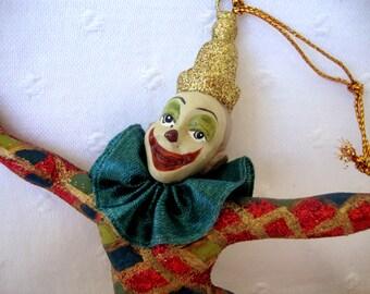 Vintage harlequin clown ornament sparkly