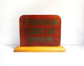 Vintage Soda Fountain Sign, Lunch Counter Sign, Vintage Wood Sign, 1950s Wooden Sign
