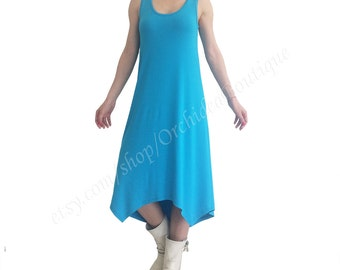 ISLA LONG summer dress Ocean blues tunic women asymmetrical hem plus size loose oversized sleeveless t-shirt kaftan summer minimalist