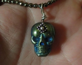 Skulls carved Pyrite Pendant on Pyrite faceted bead necklace 17 inches