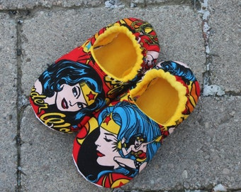 Children's Slippers/Wonder Woman/ Slippers made with Wonder Woman Fabric