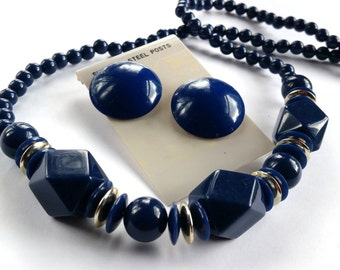 Vintage Cobalt Blue Necklace, Geometric Navy Blue Bead Necklace, Vintage Blue Earrings