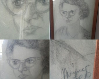 1965 Charcoal Signed Portrait Women in Cateye Glasses Framed