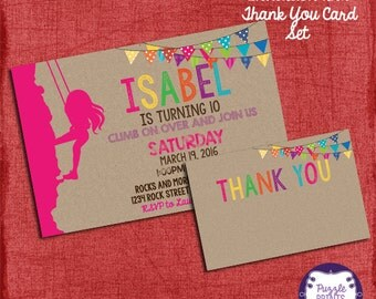 Rock Climbing Invitation and Thank You Card Set - Girl Birthday Invitation   - I design you print