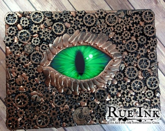 "Handcrafted Steampunk Dragon 12x9x3"" Wooden Box"