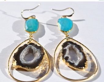 SALE Turquoise Earrings - Geode Earrings - Turquoise Jewelry - December Birthstone Earrings - Geode Jewelry - Large Hoop Gemstone Earrings