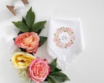 Monogramed Printed Handkerchief with pink floral wreath detail .  3 letter monogram. Wedding Handkerchief