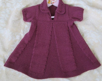 Hand Knit Baby Dress Size 9M to 12M Vintage Style Baby Girl Ready to Ship Wool