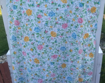 Vintage double or full flat Floral sheet with pink, yellow, and blue flowers. Retro sheet, floral bedding, roses,