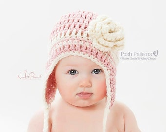 Crochet PATTERN - Easy Earflap Crochet Hat Pattern - Crochet Hat Pattern - Baby, Toddler, Kids, Adult Sizes - Photo Prop Pattern - PDF 120