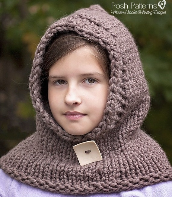 Knitting Patterns Knit Hooded Cowl Hooded Scarf by PoshPatterns