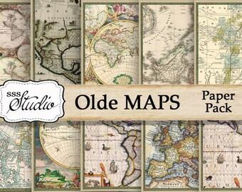 Olde Maps, Vintage Maps, Old World Maps, Digital Antique Maps, Printable map paper, scrapbook supplies, digital download, digital collage