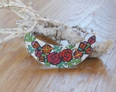 Colourful bib necklace,wood necklace,hand painted floral necklace,flower necklace,red roses