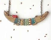 Hand Painted Crocodile Necklace Wood Necklace Quirky Necklace Jewelry