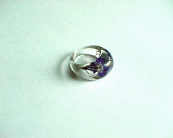 Hand Made Real Blue Lobelias Flower Ellipse Ring Ring,Gift idea