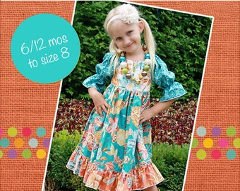HALFOFF SALE Marissa's Perfect Peasant Dress PDF Pattern from Mix and Match Line size 6-12 months to size 8
