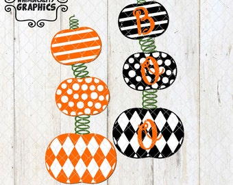 Stacked Pumpkins with Stripes, Polka Dots, Harlequin with Boo with SVG, DXF, PNG Commercial & Personal Use