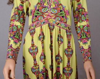 Vintage 1970's MAURICE PsYcHeDeLiC Rainbow Op Pop Art NeOn HiPPiE MOD Couture Dress Size M L