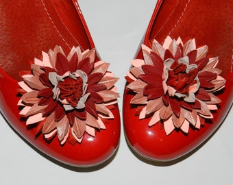 Leather flower shoe clips, leather chrysanthemum, aster, leather flower, red, pink, leather chrysanthemum shoe clips