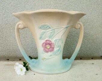 Mid Century Art Pottery Vase with Geometric Top - 1940's Hull Dogwood Vase - Pastel Nature Theme Botanical Country Chic Decor