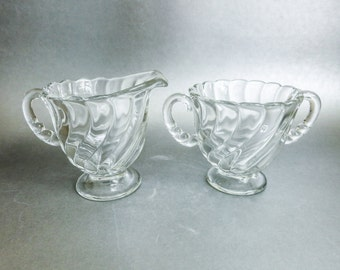 Vintage Fostoria Glass Sugar and Creamer Set - Colony Swirl - Christmas Table Decor - Gift for Mom Grandma Aunt Sister Friend