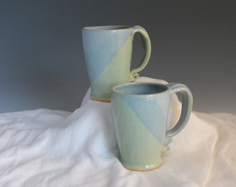 Matching coffee mugs - blue and green - tall mugs - stoneware mugs