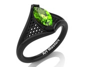 French 14K Black Gold 1.0 Carat Marquise Peridot Lace Solitaire Engagement Ring R428-14KBGP
