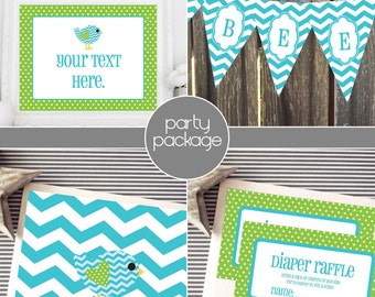 Instant Download - Lime Green and Aqua Tweet Bird Party Package