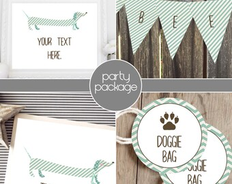 Instant Download - Oscar Dog Package - Weiner / Dachshund - Mint with Brown Accents