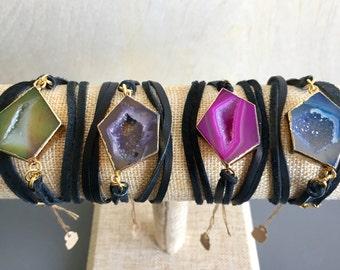 RESTOCKED--Druzy Wrap Bracelets: pink, blue, green, purple, natural